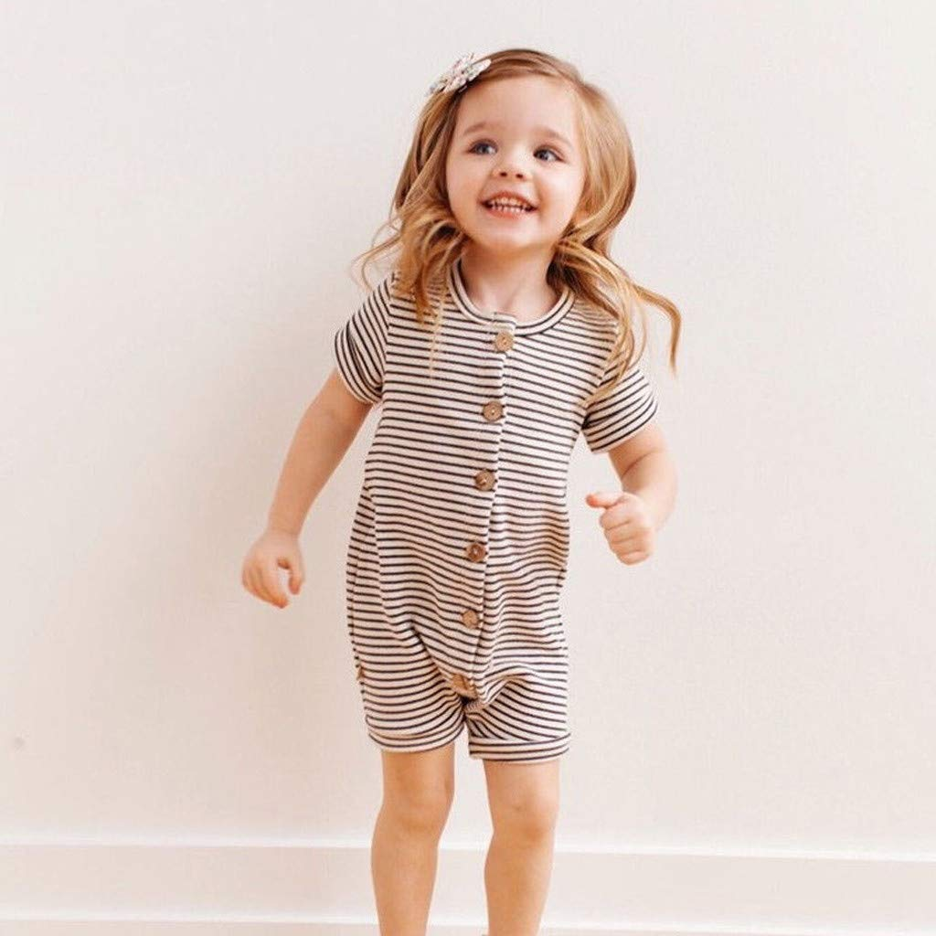 aa6d03babbc5 Amazon.com   Morecome Newborn Infant Baby Girl Short Sleeve Striped Onesies  Romper Jumpsuit Bodysuits Outfits Clothes   Beauty