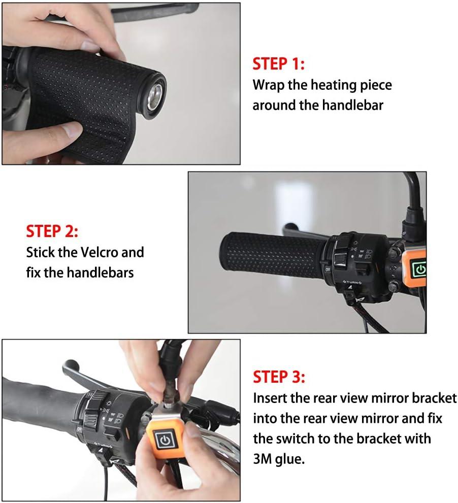 BonTime Pu/ños calefactables Cubierta de la manija de la motocicleta Control de temperatura Calentadores de mano de tres niveles para motocicleta Bicicleta el/éctrica