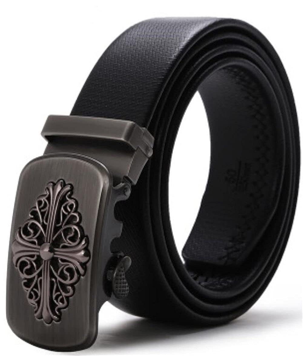 in inches Mens Belt Ratchet Belt Classic Dress Upscale Leather Fashion Automatic Buckle black15, waist20-37