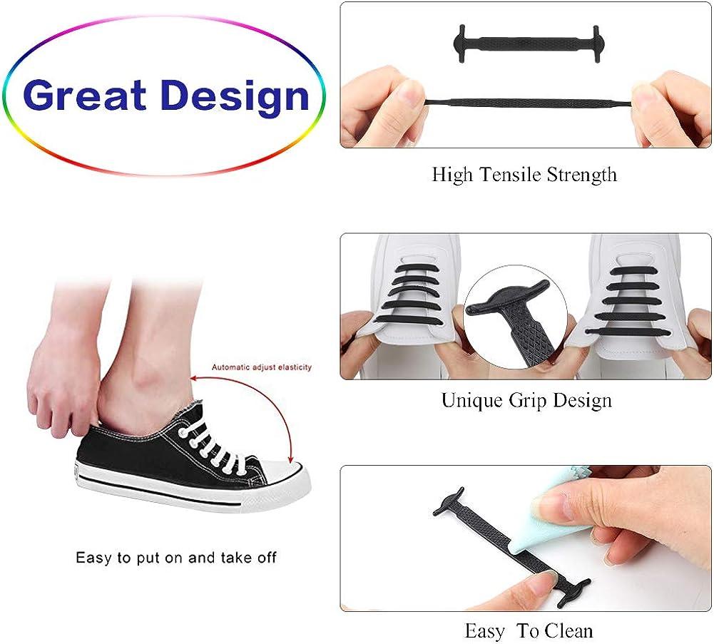 iufvbgxdh Lot de 5 lacets sans n/œud en silicone /élastique /étanche pour chaussures de sport pour enfants et adultes