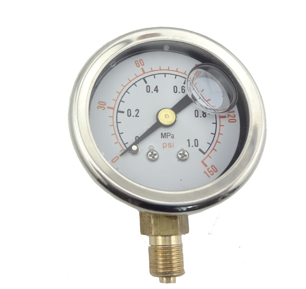 MISOL 1 unit Pressure gauge 140 PSI 10 Bar brass bar, Radial connection, 1/8' 1/8