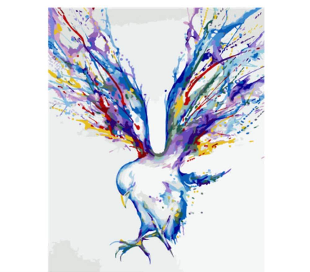 Für Erwachsene Hauptdekor Farbigen Abstrakten Adlervogel Tier DIY Malen Nach Zahlen Set Malen Nach Zahlen Für Junior-Rahmen 40X50Cm B07PJDPG94   Adoptieren