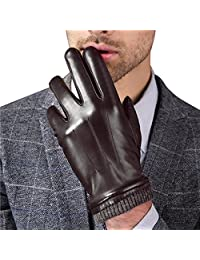 Harrms Best Touchscreen Nappa Genuine Leather Gloves for men's Texting Driving Winter Cold Weather Gloves Brown (Knitted Cuff) XL