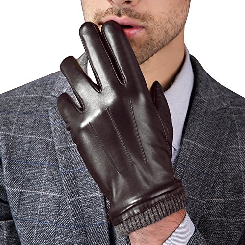 Harrms Best Touchscreen Nappa Genuine Leather Gloves with Knittted Cuff for men's Texting Driving Winter (M-8.5'', Brown)