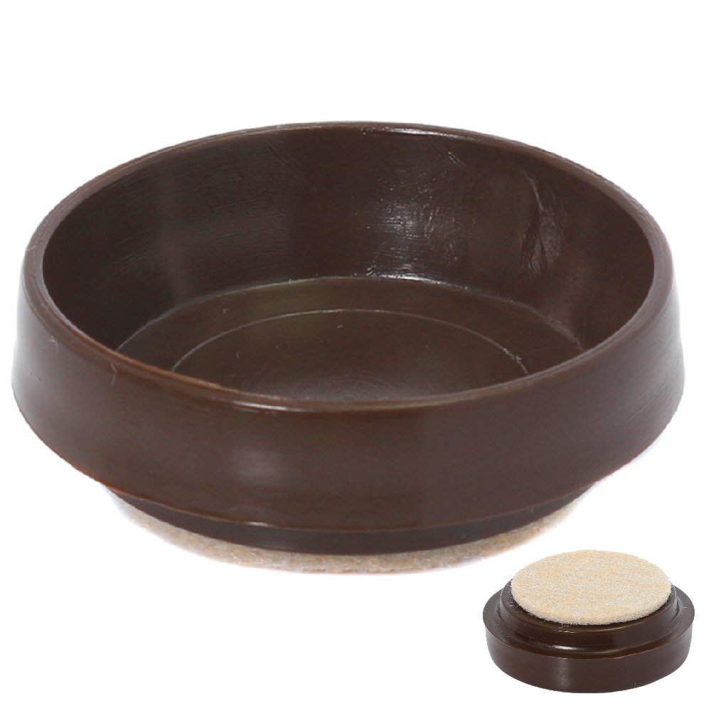 Fort Fasteners® Castor Cups, With Felt Pad Large Od 65mm (2.5/8 Inch) Brown 4 Castor Cups Fort Fasteners®