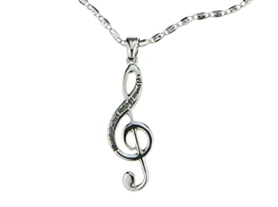 Amazon musical note necklace silver engraved music is what musical note necklace silver engraved quotmusic is what feelings sound likequot aloadofball Images