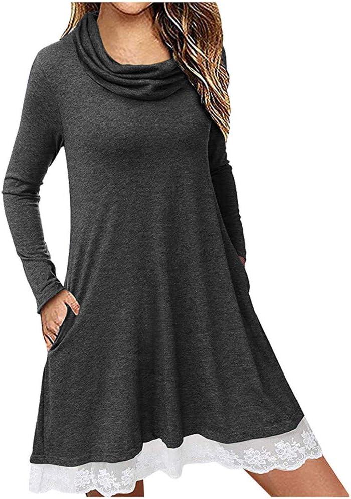 Kininana Womens Cowl Neck Long Sleeve Lace Hem Pleated Tunic Dress with Pockets Casual Solid Color Swing Mini Dress