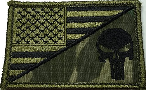 Tactical Velcro USA Flag / Punisher Skull Military Morale Pa