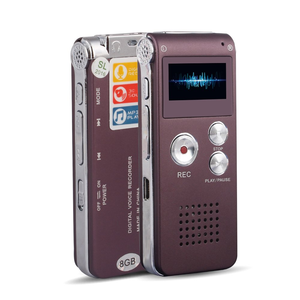 ACEE DEAL Digital Audio Voice Recorder with Mini USB Port, 8GB Memory, Voice Activated, Multifunctional MP3 Music Player & Dictaphone with Built-In Speaker, Including Cables and Earphones (Purple)
