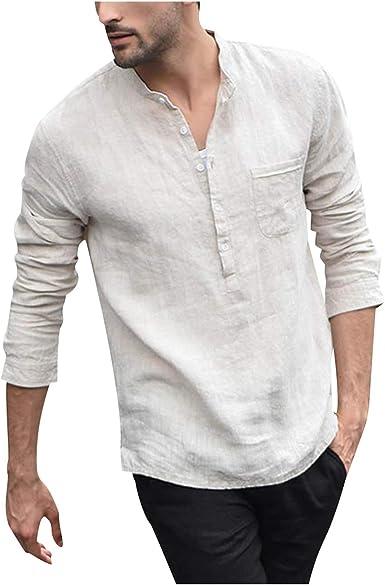 Camisa Masculina Hombres Vintage Color Puro Botón Lino Sólido Manga Larga Retro Camisas Tops Blusa: Amazon.es: Ropa y accesorios