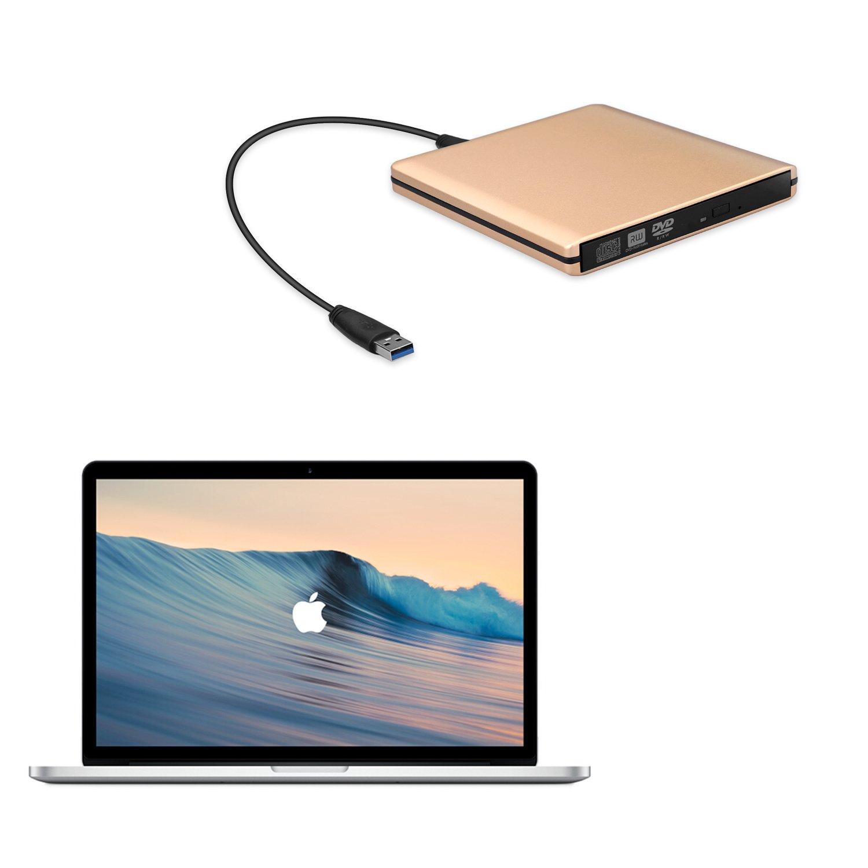 DVD Drive USB 3.0 External CD Drive,Emmako External DVD CD Player & CD DVD +/-RW Writer/Rewriter/Burner High Speed Data Transfer for MacBook/Laptops/Desktops/Notebooks Support Windows 10 (Golden) by Emmako (Image #4)