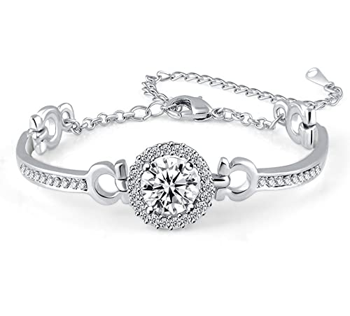 a761ec5df Hollywood Sensation Swarovski Bangle Bracelets for Women : Hope Bracelet  18K White Gold Plated Cubic Zirconia