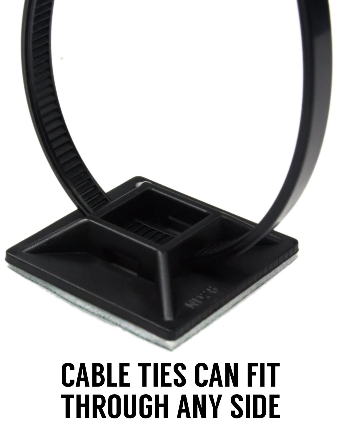Zip Tie Adhesive-Backed Mounts 100 Pack by Nova Supply. Professional-Grade, UV Black Cable Tie Bases: 1.1 x 1.1. Screw-Hole Anchor Point Provides Optimal Strength for Long-Term Durability & Use Nova Supply Zip Tie Bases 4330221854