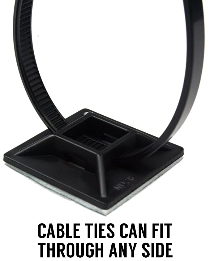 9c1cd723c83d Professional-Grade, UV Black Cable Tie Bases: 1.1 x 1.1. Screw-Hole Anchor  Point Provides Optimal Strength for Long-Term Durability & Use: Office  Products