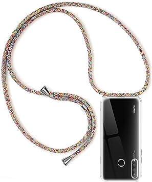 RosyHeart-EU Funda para Huawei Nova 5T Oro Suave TPU Case con Cuerda para Colgar Ajustable Anti Golpes Protector Case Transparente Silicona Carcasa con Cuerda para Huawei Nova 5T