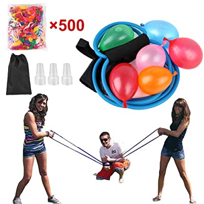 CDCASA Water Balloon Launcher Catapult Balloon Slingshot Outdoor Party Water Games for Kids & Adults with Carry Bag Include 500 Water Balloons: Toys & Games