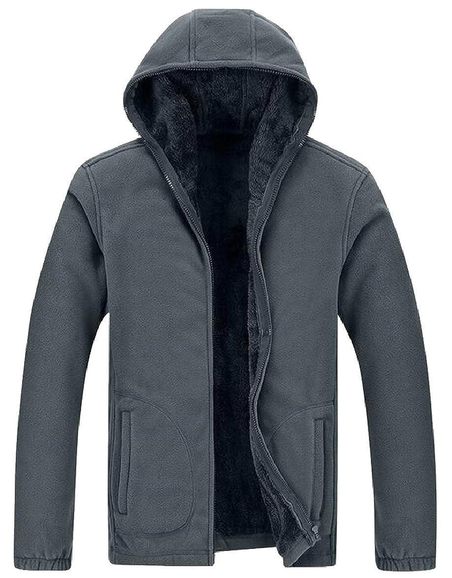 f550f6d3c Dark Grey Men Winter Fleece Fleece Fleece Sherpa Lined Full Zip Up Hoodie  Sweatshirt Jacket 7fc02e
