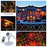 Christmas Projector Lights Green & Red Laser Lights Laser Show Star Light Shower RF Wireless Remote 6 Patterns IP44 Waterproof for Xmas Garden Decorations, Silver
