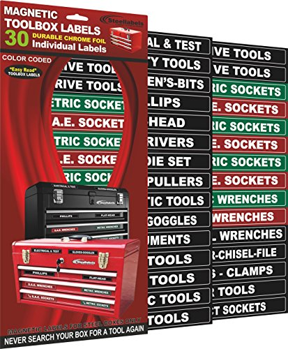 """""""Magnetic"""" Tool Box Organizer Labels (Green Edition) Organize Boxes, Drawers & Cabinets""""Quick & Easy"""", Fits All Brands Of 'Steel' Tool Chest Inclubing Craftsman & Snap-On"""
