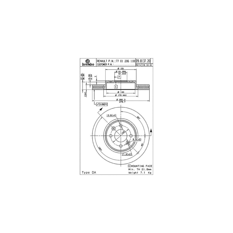 Pair Brembo 09.5509.14 Brake DISCS