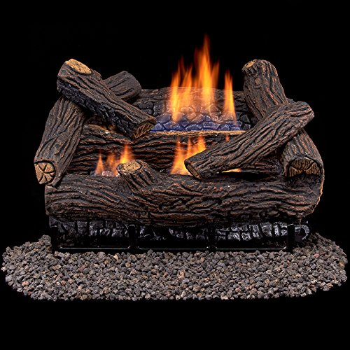 Duluth Forge Ventless Natural Gas Log Set - 18 in. Stacked Red Oak - Manual Control Forge Phones