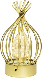 AFORTLO Battery Powered Operated Table Desk Lamp,Cordless Romantic Industrial Metal Cage Home Decor Atmosphere Desk Lamp for Bedroom,Wedding,Party,Living Room,Bar with Bulb(Gold)