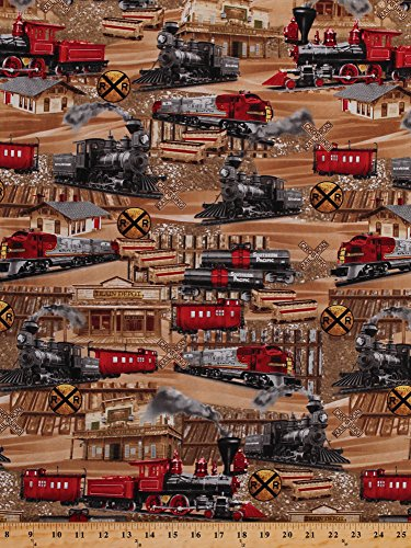Depot Train - Cotton Trains Tracks Railroads Railway Signs Train Engines Caboose Locomotive Depot Express Transportation Travel Old West Southwestern Cotton Fabric Print by the Yard (MICHAEL-C5124)