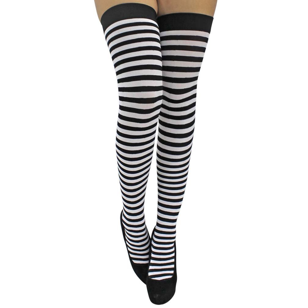 a68216a02 Black and White Stripe Solid Opaque Thigh Highs at Amazon Women s Clothing  store