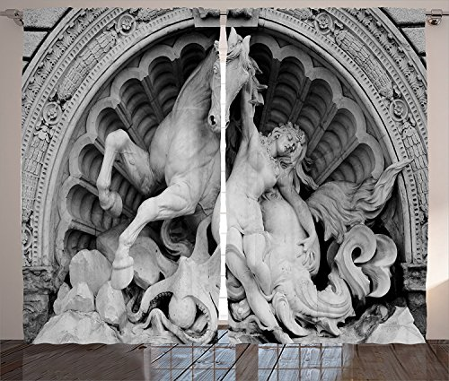 [Sculptures Decor Curtains 2 Panel Set A Struggling Nymph with Octopus Seashell Horse in a Lunette Sculpture Art in Bologna Living Room Bedroom Decor Grey,Size:2 x 54
