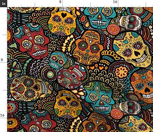 Calavera Fabric - Calavera Mexican Sugar Skulls Black Calavera Sugar Skull Day of The Dead Skull Mexico Halloween by Lusykoror Printed on Fleece Fabric by The Yard