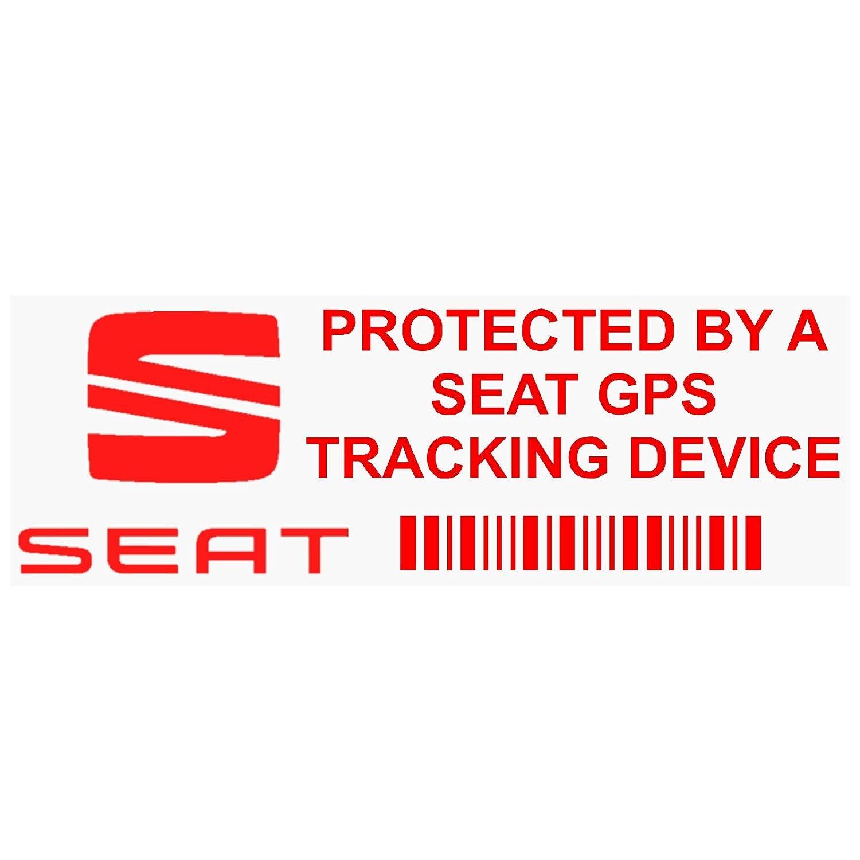 PP - Adhesivo de advertencia de dispositivo de seguimiento por GPS del vehí culo de  87 mm x 30 mm, diseñ o con logo de Seat y texto en inglé s, 5 unidades diseño con logo de Seat y texto en inglés Platinum Place
