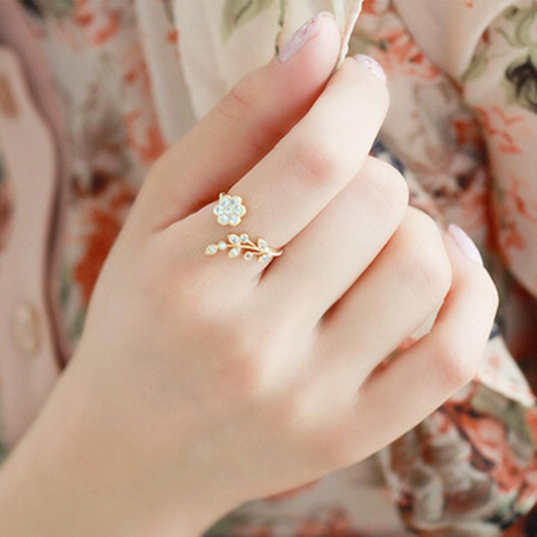 Flower Rhinestone Open Ring Rose Gold Color Finger Ring for Women Statement Adjustable Ring