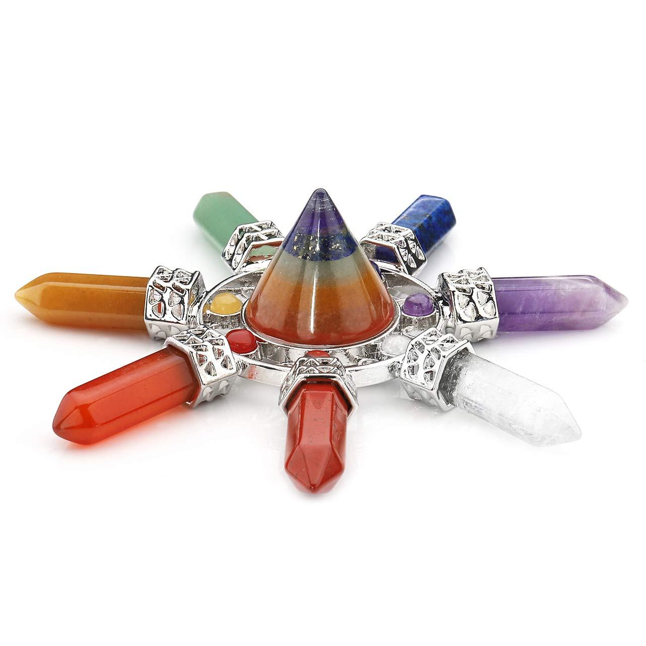 Jovivi Pyramid Crystal Energy Generator Chakra Stone Points Seven Direction 7 Chakra Quartz Crystal Reiki Stone for Healing Meditation AJ1010108547
