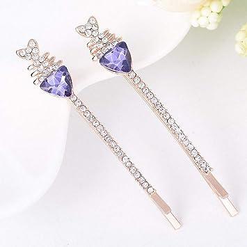 Amazon.com   Womens Hot New Fashion Rhinestone Crystal Fish Bone Headwear  Hairpins Sparking Metal Hair Accessories Jewelry Gift for Women Girl Purple    ... 70d9e730d5