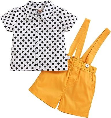 Camidy 2Pcs / Set Niños Ropa de Niños Pequeños Traje Casual Camisa de Lunares + Shorts de Tirantes: Amazon.es: Ropa y accesorios