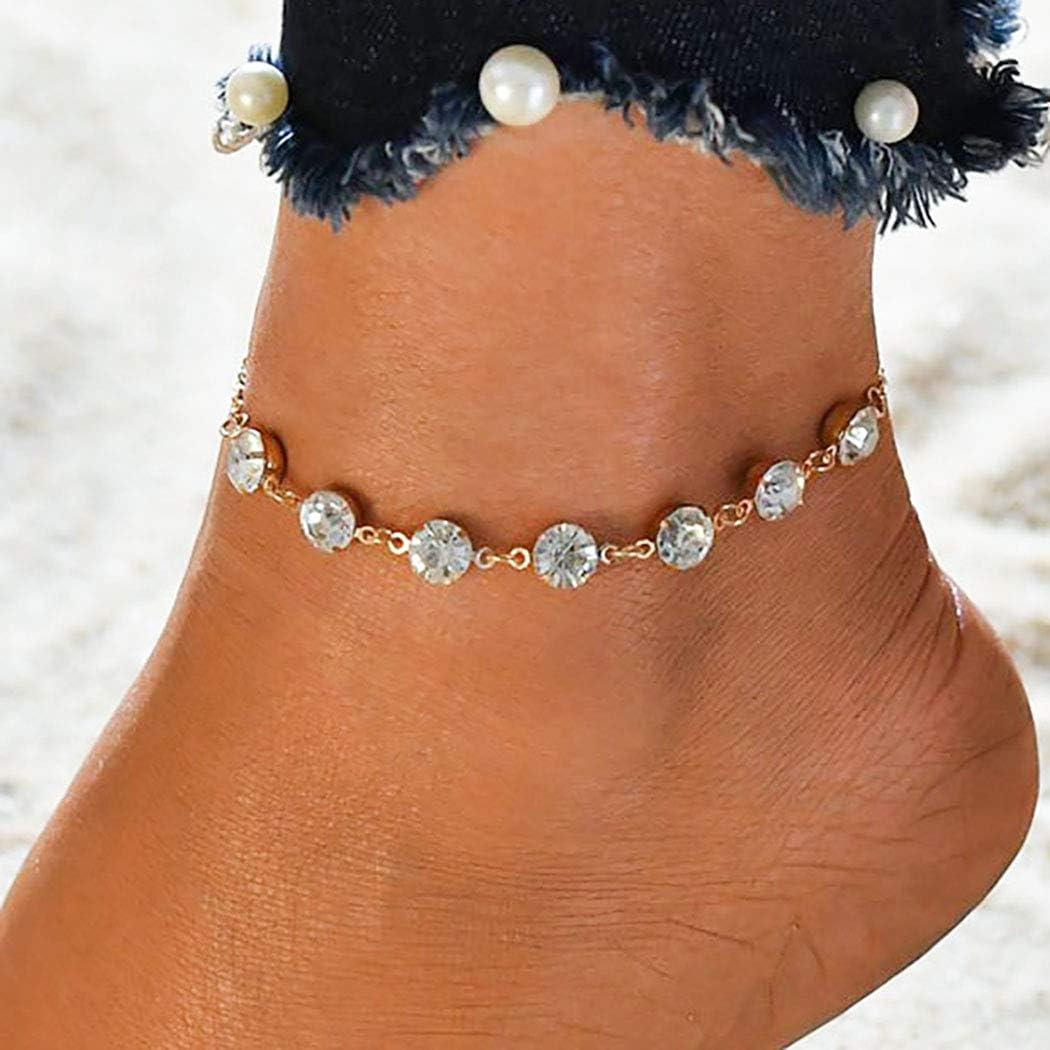 Bohend Vintage ▾ calzerotto Braccialetto Oro Strass Regolabile Braccialetti alla caviglia Spiaggia Catene per i piedi Accessori per gioielli per Donne e Ragazze