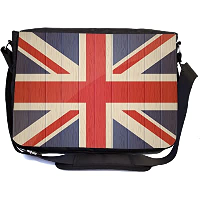 Rikki Knight Great Britain Flag On Distressed Wood Design Premium Messenger Bag - School Bag - Laptop Bag - with padded insert for School or Work - With Matching Pencil Case