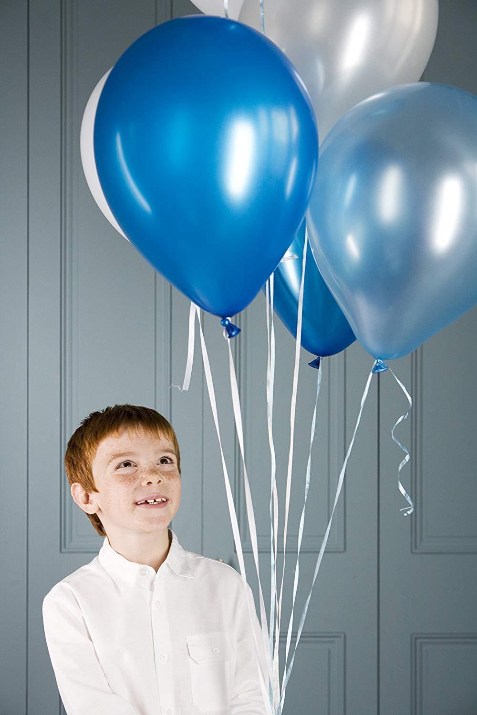 JOJOR Globos Azules y Blancos,100 Piezas Azul Globos Helio Latex Perla /Ø 30 cm para Bebe 1 A/ño Cumplea/ños,Ni/ño Bautizos Comunion Baby Shower Azul,Bodas Aniversario Graduacion Fiesta Arco Decoracion