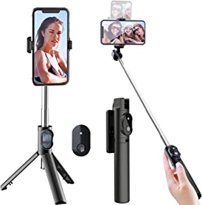 Selfie Stick Tripod, Extendable Selfie Stick with Detachable Wireless Remote and Tripod Stand Selfie Stick for iPhone 11/12 pro/X/8/8P/7/7P/6s/6,Sumsung Galaxy S9/S8/S7/Note 9/8,Huawei and More