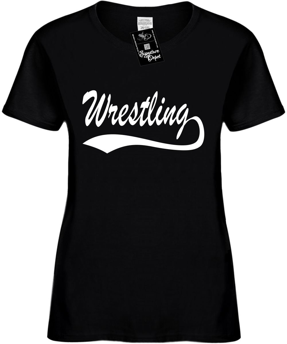Women's Size 3X Funny T-Shirt (Wrestling (baseball font) Sports) Ladies Shirt by Signature Depot