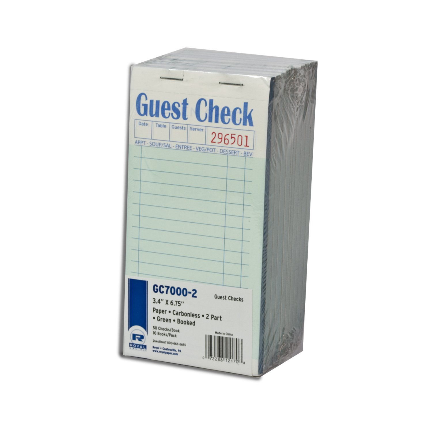 Royal Green Guest Check Paper, Carbonless 2 Part Booked, Package of 10 Books