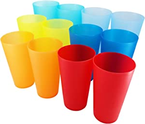 32-ounce Plastic Tumblers Reusable BPA Free Dishwasher Safe Restaurant-Quality Glasses Set of 12 in Multi-Colors Indoor Outdoor Cups
