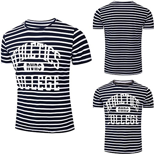 Striped Letter Printing - Farjing Clearance Men T-shirt Top Blouse,Casual Printing Button Letter Pullover Short Sleeve T-shirt Top Blouse(XL,Black)