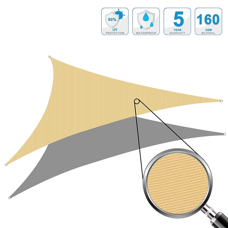 Cool Area Tenda a Vela Impermeabile Triangolare 3 x 3 x 3 Metri Protezione Raggi UV, Crema ESSWT3-CRM-2