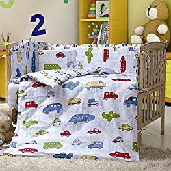 Car Crib Bedding Set, Boy's 7 Pieces Baby Crib Bumper With Cars , trucks, aeroplanes