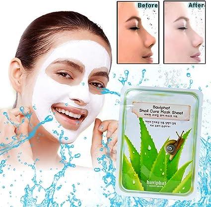 Máscara para la cara para las mujeres coreana BAVIPHAT - 10 en paquete   potentes componentes hidratantes, antienvejecimiento, juego contiene Extracto de caracol: Amazon.es: Belleza