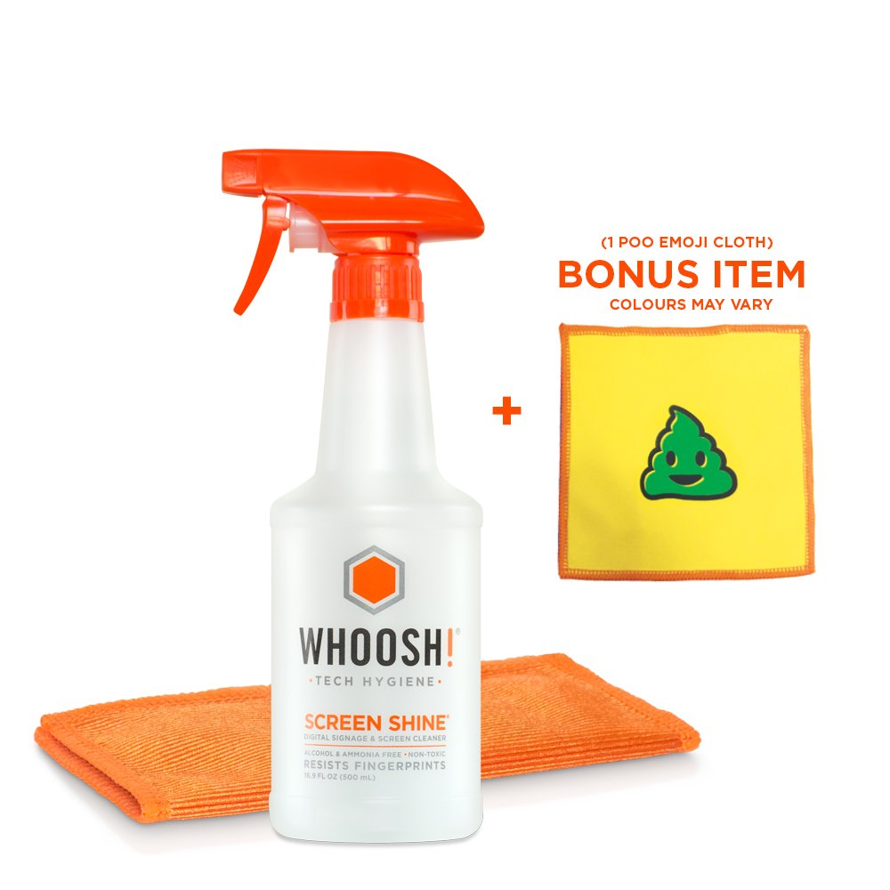 WHOOSH! Award-Wining Screen Cleaner - Safe for all screens - Smartphones, iPads, Eyeglasses, Kindle, Touchscreen & TVs - Includes 1 unit of 500ml/16.9 fl oz W/Cloth +Bonus Emoji Cloth by WHOOSH