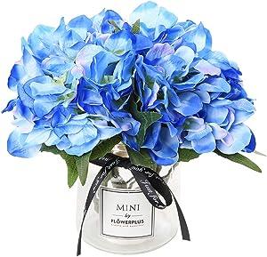Hydrangea Artificial Silk Fake Flower Bunch Bouquet Arrangements for Home Wedding Garden Floral Decor(Blue)