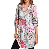 1a662b1f9353d6 ▽Londony▽ Women s Floral Printed Long Sleeve Henley V Neck Pleated Casual  Button Tunic Blouse
