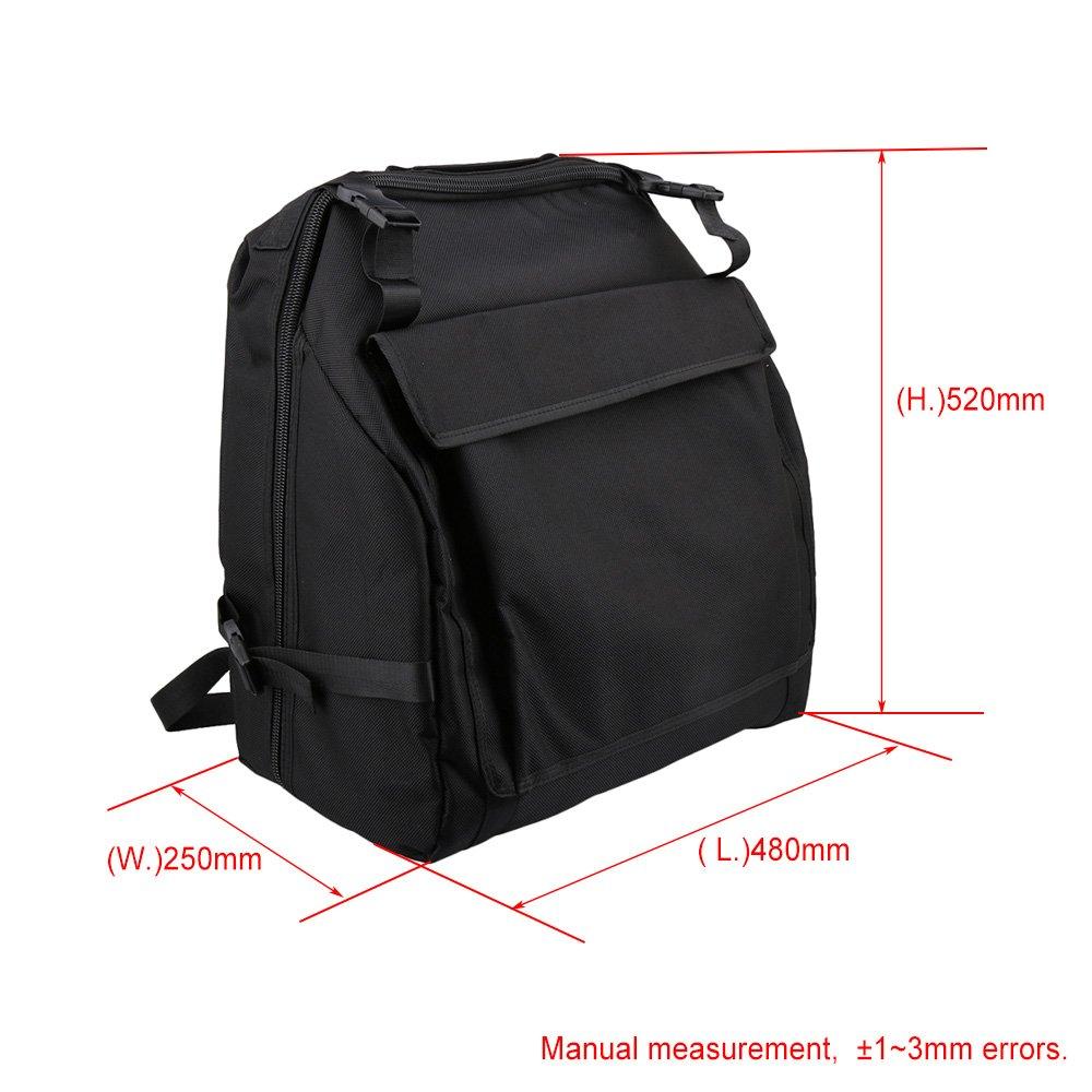 Yibuy 45x47cm 1200D negro espesa bolso de hombro de pa/ño de Oxford funda de transporte suave para 96 bajos de acorde/ón